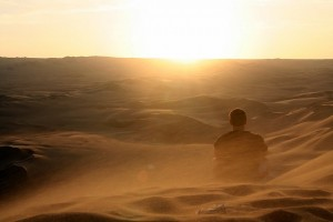 man in the desert with hope